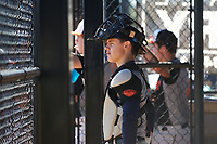 Easton Dowell (1) of Aransas Pass, Texas during the Baseball Factory All-America Pre-Season Rookie Tournament, powered by Under Armour, on January 14, 2018 at Lake Myrtle Sports Complex in Auburndale, Florida.  (Michael Johnson/Four Seam Images)