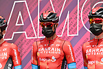Damiano Caruso (ITA) and Bahrain Victorious at sign on before the start of Stage 19 of the 2021 Giro d'Italia, running 176km from Abbiategrasso to Alpe Di Mera (Valsesia), Italy. 28th May 2021.  <br /> Picture: LaPresse/Gian Mattia D'Alberto | Cyclefile<br /> <br /> All photos usage must carry mandatory copyright credit (© Cyclefile | LaPresse/Gian Mattia D'Alberto)