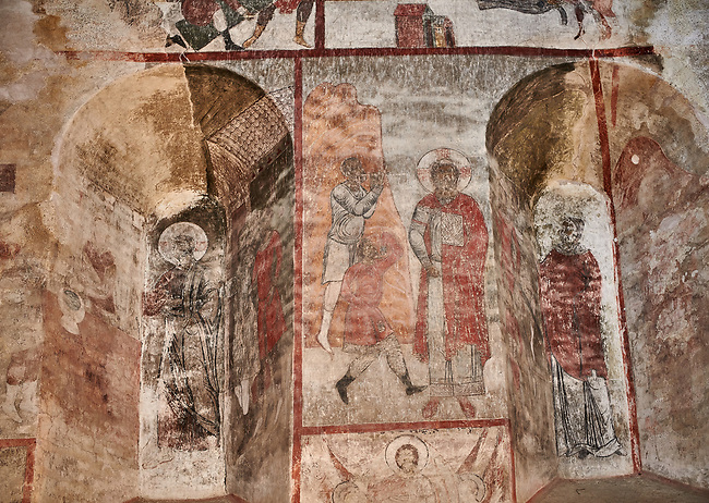"""Pictures & imagse of the interior frescoes of the Timotesubani medieval Orthodox monastery Church of the Holy Dormition (Assumption), dedcated to the Virgin Mary, 1184-1213, Samtskhe-Javakheti region, Georgia (country).<br /> <br /> Built during the reigh of Queen Tamar during the """"Golden Age of Georgia"""", Timotesubani Church of the Holy Dormition is one of the most important examples of medieval Georgian architecture and art. <br /> <br /> The interior frescoes of date from the 11th - 13th century so the Timotesubani church of the Dormition is a treasure trove of medieval Georgian art created during the reign of Queen Tamar. The fresco murals have been rescued and preserved by the Global Fund of Cultural Heritage."""