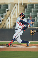 Justin Dean (5) of the Rome Braves follows through on his swing against the Kannapolis Intimidators at Kannapolis Intimidators Stadium on July 2, 2019 in Kannapolis, North Carolina.  The Intimidators walked-off the Braves 5-4. (Brian Westerholt/Four Seam Images)