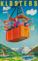 BNPS.co.uk (01202 558833)<br /> Pic: Lyon&Turnbull/BNPS<br /> <br /> Pictured: A vintage poster advertising Klosters in Switzerland<br /> <br /> A stunning set of vintage ski posters depicting the halcyon days of European winter holidays has emerged for sale.<br /> <br /> They feature early lithograph prints of advertising posters for glamorous resorts including Champery and Gstaad.<br /> <br /> The earliest posters in the sale date from the turn of the 20th century, with the most recent examples from the 1960s.<br /> <br /> Seventy posters, which range in value from £300 to £9,000, are being sold by Lyon & Turnbull, of Edinburgh, in conjunction with poster specialists Tomkinson Churcher.<br /> <br /> As transport links improved in the 1920s and '30s, skiing holidays grew in popularity. To take advantage of this boom, prestigious resorts commissioned the finest graphic artists to create art deco style advertisements urging holiday-makers to visit.