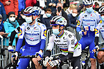 New World Champion Julian Alaphilippe (FRA) and Deceuninck-Quick Step at sign on before Liege-Bastogne-Liege 2020, running 257km from Liege to Liege, Belgium. 4th October 2020.<br /> Picture: ASO/Gautier Demouveaux | Cyclefile<br /> All photos usage must carry mandatory copyright credit (© Cyclefile | ASO/Gautier Demouveaux)