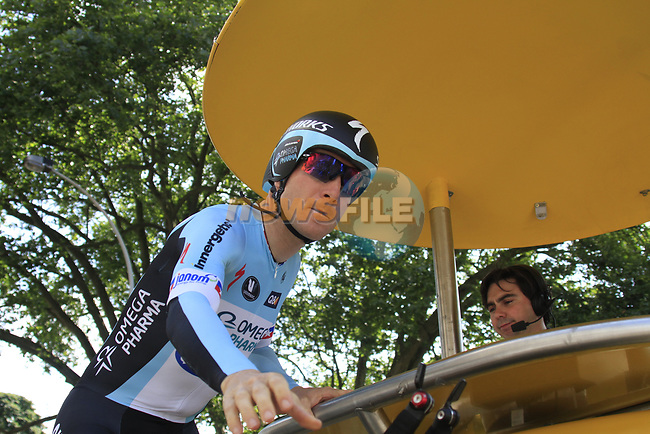 Levi Leipheimer (USA) Omega Pharma-Quick Step waits on the start ramp during the Prologue of the 99th edition of the Tour de France 2012, a 6.4km individual time trial starting in Parc d'Avroy, Liege, Belgium. 30th June 2012.<br /> (Photo by Eoin Clarke/NEWSFILE)