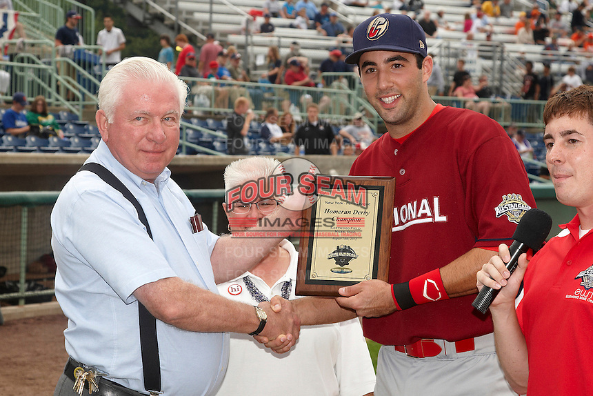 Williamsport Crosscutters outfielder Chris Serritella #26 is awarded for winning the home run derby before the NY-Penn League All-Star Game at Eastwood Field on August 14, 2012 in Niles, Ohio.  National League defeated the American League 8-1.  (Mike Janes/Four Seam Images)