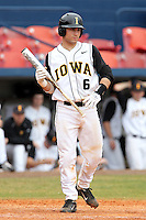 Iowa Hawkeyes catcher Keith Brand #6 during a game against the Illinois State Redbirds at Chain of Lakes Stadium on March 11, 2012 in Winter Haven, Florida.  Illinois State defeated Iowa 10-6.  (Mike Janes/Four Seam Images)