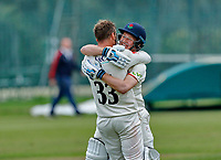 23rd September 2021; Aigburth, Liverpool, Merseyside, England; LV=Country Cricket Championship; Lancashire versus Hampshire; Lancashire captain Dane Vilas is congratulated by Matt Parkinson after hitting the winning run to give his side a one wicket win and keeps them in the title race