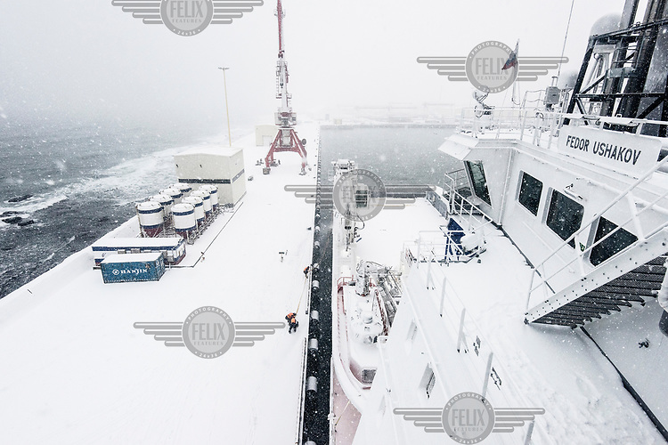 The ice breaking and supply ship 'Fedor Ushakov' moored at Kholmsk, the sea port in Sakhalin, and the final destination after a 20 day voyage from Murmansk.