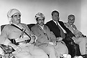 Iraq 1974 <br /> The resumption of hostilities, meeting of Mustafa Barzani with the former Kurdish minister in Baghdad, Saleh Youssefi  and the politician Fuad Aref. Next to Mustafa Barzani, his son Idris<br /> Irak 1974<br /> La reprise de la lutte armee, le general Barzani  avec a droite, Idris Barzani son fils, Fuad Aref et Saleh Youssefi, ancien ministre a Baghdad