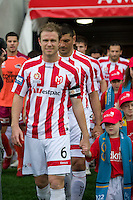 MELBOURNE, AUSTRALIA - NOVEMBER 14: Players from the Heart enter the field during the round 14 A-League match between the Melbourne Heart and Brisbane Roar at AAMI Park on November 14, 2010 in Melbourne, Australia (Photo by Sydney Low / Asterisk Images)
