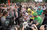 King Philippe of Belgium greeted the riders at the start<br /> <br /> stage 4: Seraing (BEL) - Cambrai (FR) <br /> 2015 Tour de France