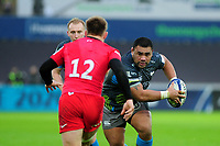Ma'afu Fia of Ospreys in action during the Heineken Champions Cup Round 5 match between the Ospreys and Saracens at the Liberty Stadium in Swansea, Wales, UK. Saturday January 11 2020.