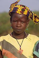 Near Niamey, Niger - Fulani Girl with Facial Tattoos, Jewelry