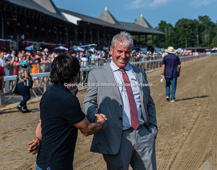 July 15 2021: Golden Pal #3, ridden by jockey Irad Ortiz Jr. and trained by Wesley Ward wins the Quick Call (Grade 3) at Saratoga Race Course in Saratoga Springs, N.Y. on July 15, 2021. Rob Simmons/Eclipse Sportswire/CSM
