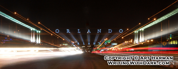 Orlando's iconic bridge. This special effect photograph took many hours to setup and perfect!
