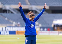CHICAGO, IL - OCTOBER 5: Carli Lloyd #10 of the United States reacts to winning a drill at Soldier Field on October 5, 2019 in Chicago, Illinois.