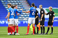Ronan Curtis of Portsmouth left is not happy with Referee Gavin Ward   at the final whistle during Portsmouth vs Oxford United, Sky Bet EFL League 1 Play-Off Semi-Final Football at Fratton Park on 3rd July 2020