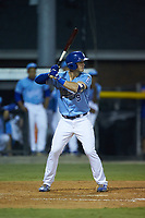 Jake Means (9) of the Burlington Royals at bat against the Johnson City Cardinals at Burlington Athletic Stadium on September 3, 2019 in Burlington, North Carolina. The Cardinals defeated the Royals 7-2 to even Appalachian League Championship series at one game a piece. (Brian Westerholt/Four Seam Images)