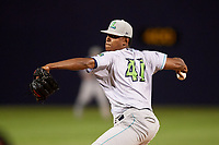 Lynchburg Hillcats relief pitcher Luis Jimenez (41) delivers a pitch during the second game of a doubleheader against the Frederick Keys on June 12, 2018 at Nymeo Field at Harry Grove Stadium in Frederick, Maryland.  Frederick defeated Lynchburg 8-1.  (Mike Janes/Four Seam Images)