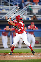 Batavia Muckdogs second baseman Mike Garzillo (11) at bat during a game against the Aberdeen Ironbirds on July 15, 2016 at Dwyer Stadium in Batavia, New York.  Aberdeen defeated Batavia 4-2. (Mike Janes/Four Seam Images)