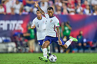 5th September 2021; Nashville, TN, USA;  United States midfielder Kellyn Acosta (23) clears the ball during a CONCACAF World Cup qualifying match between the United States and Canada on September 5, 2021 at Nissan Stadium in Nashville, TN.