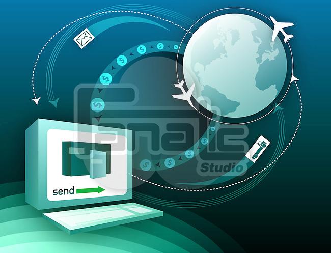 Global transportation and communication montage