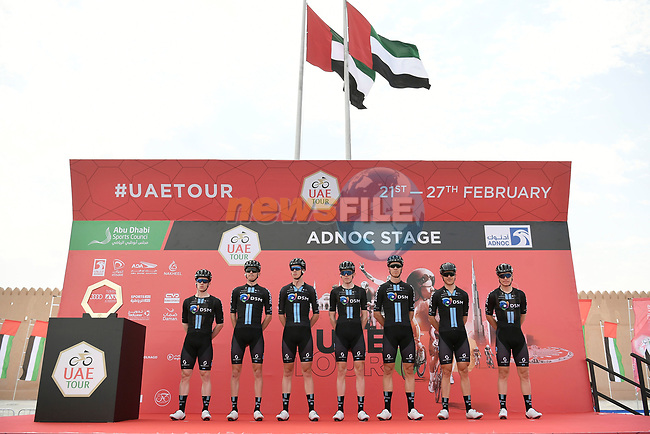 Team DSM at sign on before the start of Stage 1 of the 2021 UAE Tour the ADNOC Stage running 176km from Al Dhafra Castle to Al Mirfa, Abu Dhabi, UAE. 21st February 2021.  <br /> Picture: LaPresse/Fabio Ferrari | Cyclefile<br /> <br /> All photos usage must carry mandatory copyright credit (© Cyclefile | LaPresse/Fabio Ferrari)