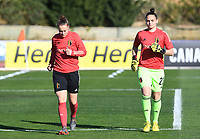 20200307  Parchal , Portugal : Belgian goalkeeper Diede Lemey (12) pictured with Belgian goalkeeper Nicky Evrard (21) during the female football game between the national teams of Belgium called the Red Flames and Portugal on the second matchday of the Algarve Cup 2020 , a prestigious friendly womensoccer tournament in Portugal , on saturday 7 th March 2020 in Parchal , Portugal . PHOTO SPORTPIX.BE | DAVID CATRY