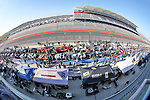 A fish eye lense view of the staging lanes during the Continental Tire Challenge race at the Circuit of the Americas race track in Austin,Texas...