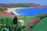Man walks near tropical garden at Manele Bay, Lanai, Hawaii