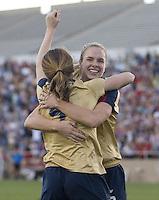 Lindsay Tarpley congratulates Heather O'Rielly after she scores against Mexico. .International friendly, USA Women vs Mexico, Albuquerque, NM,.October 20, 2006..USA 1, Mexico  1.