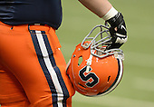 Syracuse Orange helmet before a game against the Boston College Eagles at the Carrier Dome on November 30, 2013 in Syracuse, New York.  Syracuse defeated Boston College 34-31.  (Copyright Mike Janes Photography)