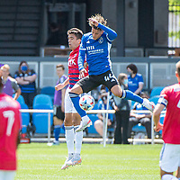 SAN JOSE, CA - APRIL 24: Jose Martinez #3 of FC Dallas and Cade Cowell #44 of the San Jose Earthquakes attempt to head the ball during a game between FC Dallas and San Jose Earthquakes at PayPal Park on April 24, 2021 in San Jose, California.
