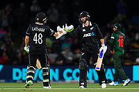 23rd March 2021; Christchurch, New Zealand;  Tom Latham of the Black Caps congratulates Devon Conway of the Black Caps on reaching 50 runs during the 2nd ODI cricket match, Black Caps versus Bangladesh, Hagley Oval, Christchurch, New Zealand.