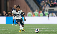 FOXBOROUGH, MA - JULY 18: Yordy Reyna #29 passes the ball during a game between Vancouver Whitecaps and New England Revolution at Gillette Stadium on July 18, 2019 in Foxborough, Massachusetts.