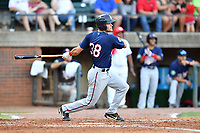 Elizabethton Twins Trevor Jensen (38) swings at a pitch during a game against the Greenville Reds at Pioneer Park on June 29, 2019 in Greeneville, Tennessee. The Twins defeated the Reds 8-1. (Tony Farlow/Four Seam Images)