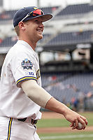 Michigan Wolverines infielder Riley Bertram (12) smiles before Game 11 of the NCAA College World Series against the Texas Tech Red Raiders on June 21, 2019 at TD Ameritrade Park in Omaha, Nebraska. Michigan defeated Texas Tech 15-3 and is headed to the CWS Finals. (Andrew Woolley/Four Seam Images)