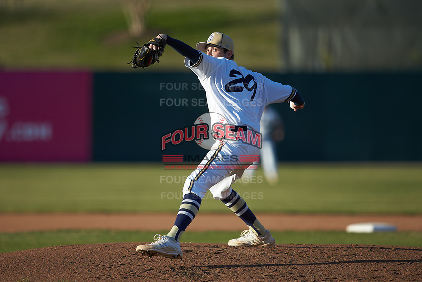 Queens Royals starting pitcher Kollin Schrenk (29) in action against the Barton Bulldogs at Intimidators Stadium on March 19, 2019 in Kannapolis, North Carolina. The Royals defeated the Bulldogs 6-5. (Brian Westerholt/Four Seam Images)