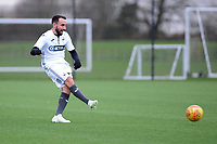 Pictured: Leon Britton. Wednesday 13 December 2018<br /> Re: Coaching staff v Members of the press game at the Fairwood Training Ground, Wales, UK.