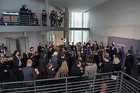68. Sitzungs des NSA-Untersuchungsausschuss des Deutschen Bundestages. Geladen war fuer die Ausschusssitzung der Sachverstaendige (Sonderermittler) der Bundesregierung, Dr. Kurt Graulich.<br /> Im Bild: Journalisten folgen den Pressestatemenst der Obleute der Parteien. <br /> 5.11.2015, Berlin<br /> Copyright: Christian-Ditsch.de<br /> [Inhaltsveraendernde Manipulation des Fotos nur nach ausdruecklicher Genehmigung des Fotografen. Vereinbarungen ueber Abtretung von Persoenlichkeitsrechten/Model Release der abgebildeten Person/Personen liegen nicht vor. NO MODEL RELEASE! Nur fuer Redaktionelle Zwecke. Don't publish without copyright Christian-Ditsch.de, Veroeffentlichung nur mit Fotografennennung, sowie gegen Honorar, MwSt. und Beleg. Konto: I N G - D i B a, IBAN DE58500105175400192269, BIC INGDDEFFXXX, Kontakt: post@christian-ditsch.de<br /> Bei der Bearbeitung der Dateiinformationen darf die Urheberkennzeichnung in den EXIF- und  IPTC-Daten nicht entfernt werden, diese sind in digitalen Medien nach §95c UrhG rechtlich geschuetzt. Der Urhebervermerk wird gemaess §13 UrhG verlangt.]