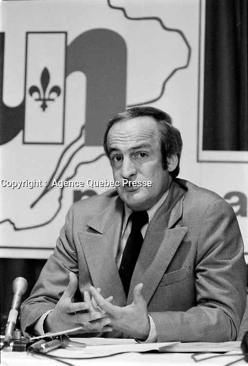 le chef de l'Union nationale Gabriel Loubier , 18 mai 1973<br /> <br /> PHOTO :  Agence Quebec Presse - Alain Renaud