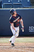 Jake Pavletich #23 of the Cal State Fullerton Titans bats against the Stanford Cardinal at Goodwin Field on February 19, 2017 in Fullerton, California. Stanford defeated Cal State Fullerton, 8-7. (Larry Goren/Four Seam Images)