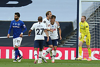 Giovani Lo Celso of Tottenham Hotspur is congratulated after his shot led to the first goal during Tottenham Hotspur vs Everton, Premier League Football at Tottenham Hotspur Stadium on 6th July 2020