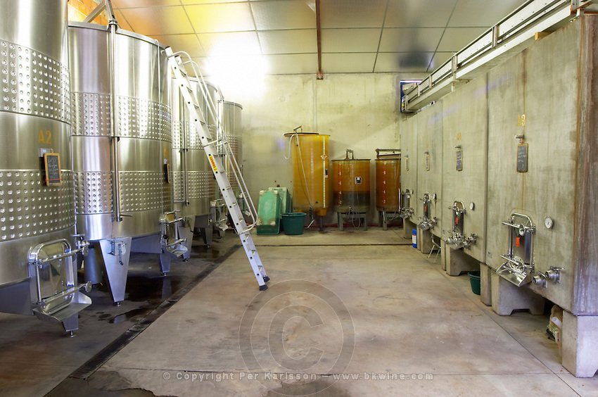 Chateau des Erles. In Villeneuve-les-Corbieres. Fitou. Languedoc. Concrete fermentation and storage vats. France. Europe.