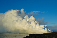 Inexperienced hikers on the new bench, 4th of July, Giant bubbles of lava exploding, Waikupanaha ocean entry, East of Hawaii, USA Volcanoes National Park, Kalapana, Hawaii, USA, The Big Island of Hawaii, USA