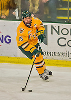 19 February 2016: University of Vermont Catamount Defenseman Yvan Pattyn, a Senior from St. Anne, Manitoba, in first period action against the Boston College Eagles at Gutterson Fieldhouse in Burlington, Vermont. The Eagles defeated the Catamounts 3-1 in the first game of their weekend series. Mandatory Credit: Ed Wolfstein Photo *** RAW (NEF) Image File Available ***