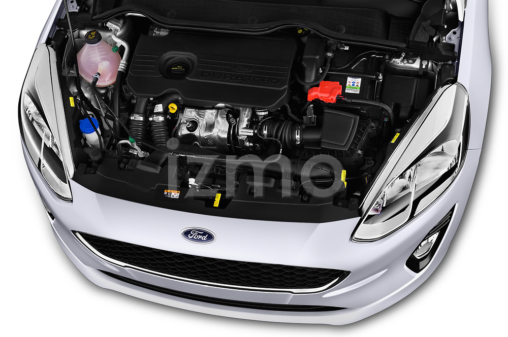 Car Stock 2017 Ford Fiesta Business-Class 5 Door Hatchback Engine  high angle detail view