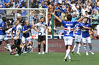 Maya Yoshida of UC Sampdoria (r) celebrates with team mates after scoring the goal of 1-1 during the Serie A football match between UC Sampdoria and FC Internazionale at stadio Marassi in Genova (Italy), September 12th, 2021. Photo Image Sport / Insidefoto