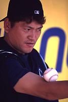Kazuhiro Sasaki of the Seattle Mariners during a 2001 season MLB game at Angel Stadium in Anaheim, California. (Larry Goren/Four Seam Images)