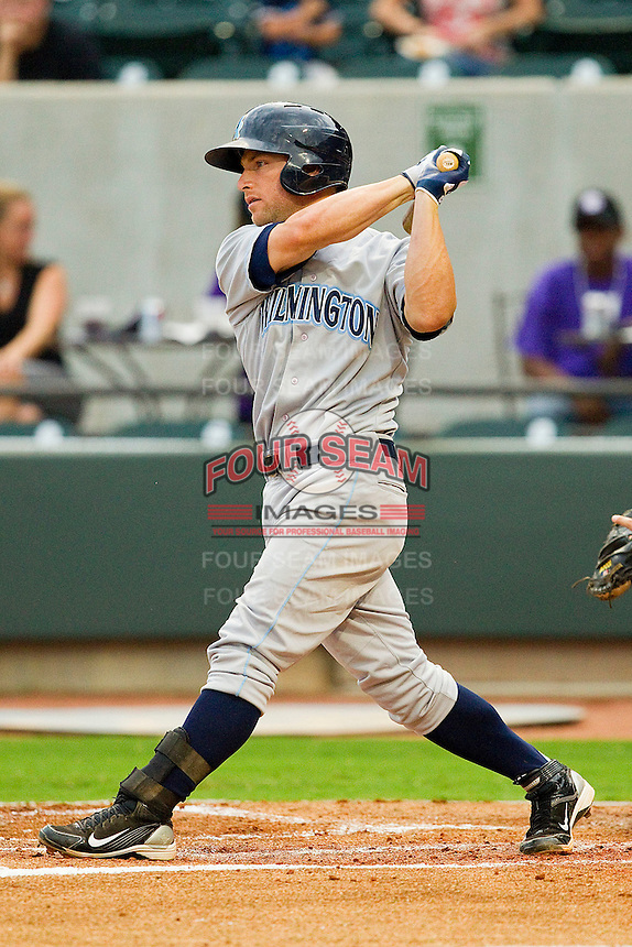 Ryan Stovall #7 of the Wilmington Blue Rocks follows through on his swing against the Winston-Salem Dash at BB&T Ballpark on August 3, 2011 in Winston-Salem, North Carolina.  The Blue Rocks defeated the Dash 6-2.   Brian Westerholt / Four Seam Images