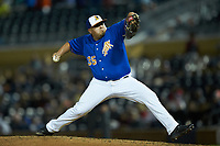 Durham Bulls relief pitcher Mike Franco (35) in action against the Gwinnett Braves at Durham Bulls Athletic Park on April 20, 2019 in Durham, North Carolina. The Bulls defeated the Braves 3-2 in game two of a double-header. (Brian Westerholt/Four Seam Images)